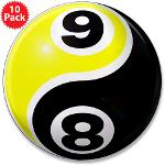 "8 Ball 9 Ball Yin Yang 3.5"" Button (10 pack)"