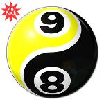 "8 Ball 9 Ball Yin Yang 3"" Lapel Sticker (48 p"