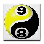 8 Ball 9 Ball Yin Yang Tile Coaster