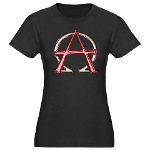 Alpha & Omega Anarchy Symbol Women's Fitted T-Shir