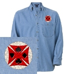 Ace Biker Iron Maltese Cross Denim Shirt
