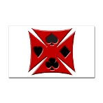 Ace Biker Iron Maltese Cross Rectangular Sticker
