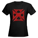 Ace Biker Iron Maltese Cross Women's Dark T-Shirt