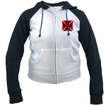Ace Biker Iron Maltese Cross Women's Raglan Hoodie