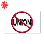 Anti-Union Sticker (Rectangle 50 pk)