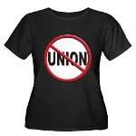 Anti-Union Women's Plus Size Scoop Neck Dark T-Shi