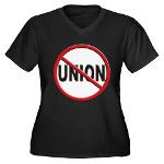 Anti-Union Women's Plus Size V-Neck Dark T-Shirt