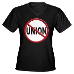 Anti-Union Women's V-Neck Dark T-Shirt