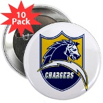 "Chargers Bolt Shield 2.25"" Button (10 pack)"