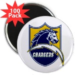 "Chargers Bolt Shield 2.25"" Magnet (100 pack)"