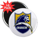 "Chargers Bolt Shield 2.25"" Magnet (10 pack)"