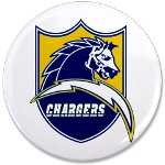 "Chargers Bolt Shield 3.5"" Button"