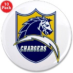 "Chargers Bolt Shield 3.5"" Button (10 pack)"