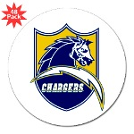 "Chargers Bolt Shield 3"" Lapel Sticker (48 pk)"