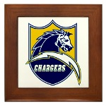 Chargers Bolt Shield Framed Tile