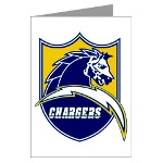 Chargers Bolt Shield Greeting Cards (Pk of 10)