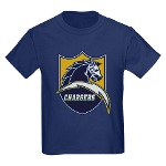 Chargers Bolt Shield Kids Dark T-Shirt