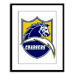 Chargers Bolt Shield Large Framed Print