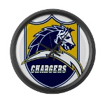 Chargers Bolt Shield Large Wall Clock