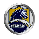Chargers Bolt Shield Modern Wall Clock