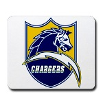Chargers Bolt Shield Mousepad