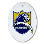 Chargers Bolt Shield Ornament (Oval)