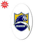 Chargers Bolt Shield Sticker (Oval 10 pk)