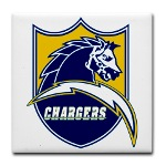 Chargers Bolt Shield Tile Coaster