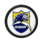 Chargers Bolt Shield Wall Clock