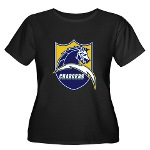 Chargers Bolt Shield Women's Plus Size Scoop Neck