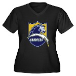 Chargers Bolt Shield Women's Plus Size V-Neck Dark