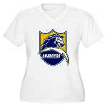 Chargers Bolt Shield Women's Plus Size V-Neck T-Sh