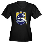 Chargers Bolt Shield Women's V-Neck Dark T-Shirt