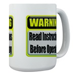 Read Instructions First Large Coffee Mug